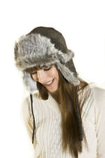 New Unisex Adult Faux Fur Trim Tweed Weave Trapper Style Warm Winter Hat