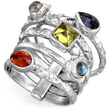Stacking Bands Ring Solid 925 Sterling Silver Amethyst Peridot Gemstone Size