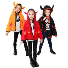 Halloween Witch Hooded Cape Cloak Costume Kids Children Cosplay Fancy Dress up