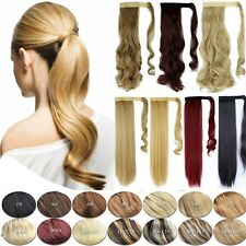 Lady Clip In Ponytail Pony Tail Hair Extension Wrap Around Hair Piece curly wavy