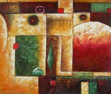 At Home Cubic Abstract Geometric Shapes Painted Canvas Stretched Oil Painting