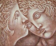 Statuettes Abstract Hand Painted Stretched Canvas Art Beige Oil Painting