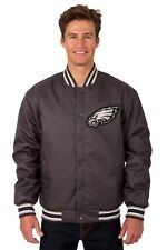 Philadelphia Eagles NFL Poly Twill Jacket Charcoal Embroidered Logo Licensed