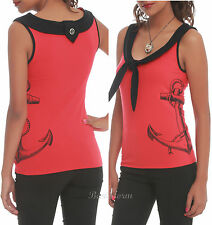 NEW 1950'S ROCKABILLY RETRO ANCHOR SAILOR TANK TOP RED/BLACK HOT TOPIC EXCLUSIVE