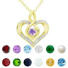 Dolce Giavonna Gold Over Sterling Silver Gemstone Heart Birthstone Necklace