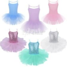 Girls Kids Gymnastics Leotard Ballet Dress Tutu Skirt Dancewear Party Costume