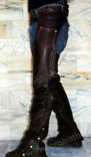 RETRO BROWN BUFFALO HIDE LEATHER MOTORCYCLE CHAPS - NWT