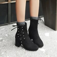 Womens Faux Suede Hollow Side Zip Block Mid Heels Ankle Boots High Top Shoes Sz