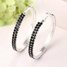 Women Fashion Charm Silver Plated Crystal Rhinestone Hoop Earrings Jewelry Gift