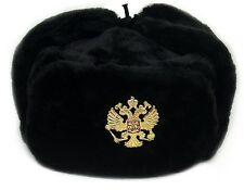 Hat USHANKA Russian Military Army w/Imperial Eagle Crest  Pin Badge BLACK