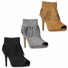 Womens Ladies Open Peep Toe Suede Tassel High Heel Ankle Boots Booties Shoes 3-8