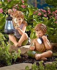 CHARMING KIDS BOY AND/OR GIRL SOLAR AUTO ON LIGHTED GARDEN STATUE LAWN SCULPTURE