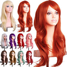 Fashion Women Full Wig Long Curly Wave Black Roots Synthetic Hair Costume Wigs