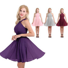 Women Criss-cross Straps Bridesmaid Formal Prom Gown Evening Party Short Dress