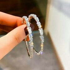 New Fashion Women Lady Charm White K Plated Crystal Hoop Earrings Party Jewelry