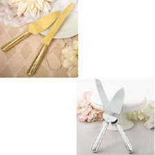 GOLD OR SILVER STAINLESS STEEL CAKE KNIFE AND SERVER SET WEDDING CAKE SERVER SET