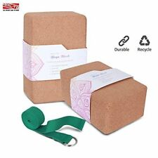 "ARLTB Cork Yoga Block 2 Pack and yoga Strap Set with Metal D-Ring 4""x6""x9"" Cork"