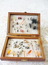 VINTAGE MIXED TROUT FLIES WITH WOODEN BOX
