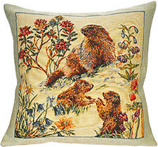 Bebes Marmottes French Tapestry Cushion Pillow Cover - 18 x 18 - NEW