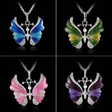 Fashion 6 Colors Butterfly Animal Crystal Pendant Necklace Women Jewelry Gift