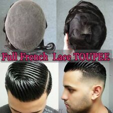 US French Lace Toupee Hair Mens Hairpiece 100% Human Hair Replacement System #1B