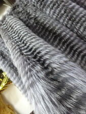 100% REAL GENUINE REAL EXTRA LONG  SILVER FOX FUR SCARF STOLE COLLAR WRAP SHAWL