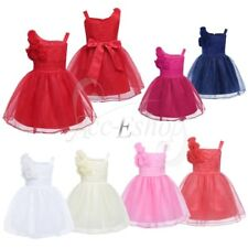 3D Rose Flower Girl Princess Dress Baby Party Wedding Christening Formal Dresses