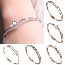 Women Charm Crystal Rhinestone Pearl Bangle Bracelet Wedding Jewelry Party Gift