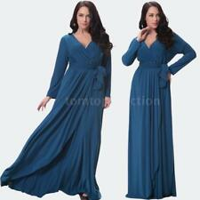 Anself Women Solid V Drape Ruching Long Gown Maxi Evening Party One-Piece V1A5