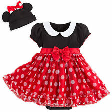 Minnie Mouse RED Baby Bodysuit Dress Costume & 3D Ears Hat Disney Store 0-3 3-6M
