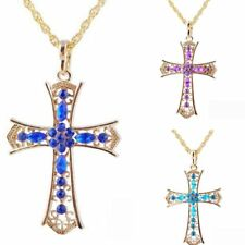 Fashion Crystal Gold Cross Pendant Necklace Sweater Chain Womens Jewelry Gift
