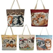 Women Canvas Shoulder Bag Handbag Cat Embroidery Large Shopping Bag Totes H1J6