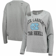 North Carolina Tar Heels Zoozatz Womens Zat Ripped Crewneck  Sweatshirts - Gray