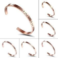 Stainless Steel Rose Gold Letter Cuff Bangle Bracelet Gift Family Jewelry Gift