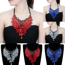 Fashion Black Chain Crystal Acrylic Collar Choker Statement Pendant Bib Necklace