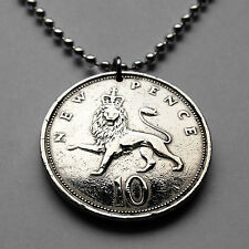 Great Britain 10 Pence coin pendant English lion British London England n000583