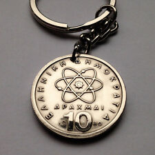 Greece 10 Drachmai coin keychain Greek Hellenic Democritus atomic theory n000228