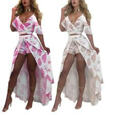 Women Fashion Ruffled Crop Top Asymmetric Hem Skirt Set 2pcs Maxi Dress B6H7