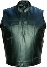 Men's Cowhide Leather Vest with Gun Pockets and Gun Holster - Black