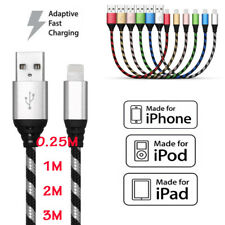 0.25M/1M2M/3M Braided USB Cable Data Sync Charging Cord For iPhone 8 7 6 6S Plus
