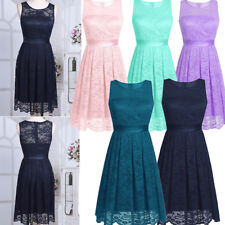 Women's Lace Short Sleeve Dress Bridesmaid Gown Evening Prom Party Wedding Dress