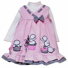 Baby Girls 3M-24M Pink Poodle Corduroy Jumper Dress, Rare Editions