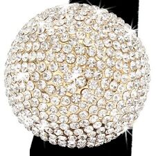 *HUGE* BLING PINK GOLD TOPAZ Pave Crystal DOME BALL Statement Cocktail Cz Ring