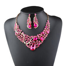 Statement Necklace and Earring Set Luxury Crystal Jewelry Set Alloy Metal