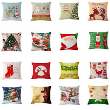 Merry Christmas Series Cotton Linen Throw Pillow Case Cushion Cover Square 17""