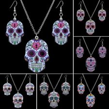 Women Charm Fashion Printing Skull Head Pendant Necklace Earrings Jewelry Set