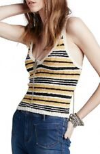 Free People Ditsy Tank Top Tie Back Striped Yellow Medium Large NWT W5