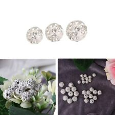 100Pcs Fashion Czech Crystal Rhinestones Pave Clay Round Disco Ball Spacer Beads