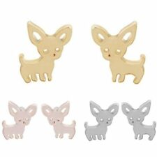 Animal Dog Womens Gold Plated Earrings Ear Pierced Stud Jewelry Christmas Gift