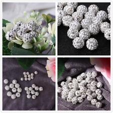 100Pcs 8/10/12 mm Crystal Rhinestones Pave Clay Disco Ball Spacer Beads Round